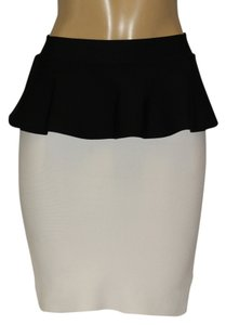 BCBGMAXAZRIA Mini Skirt WHITE, BLACK RUFLE.