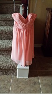 Alfred Angelo Salmon Chiffon 875657 Traditional Bridesmaid/Mob Dress Size 0 (XS)