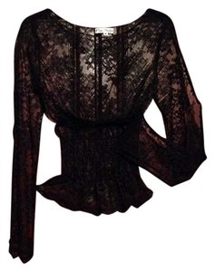 Peep Show Top Black sheer lace, Long sleeve top.