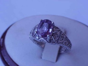 Antique Art Deco 18k White Gold Filigree Genuine 1.50ct Pink Sapphire Diamonds Ring 1930's