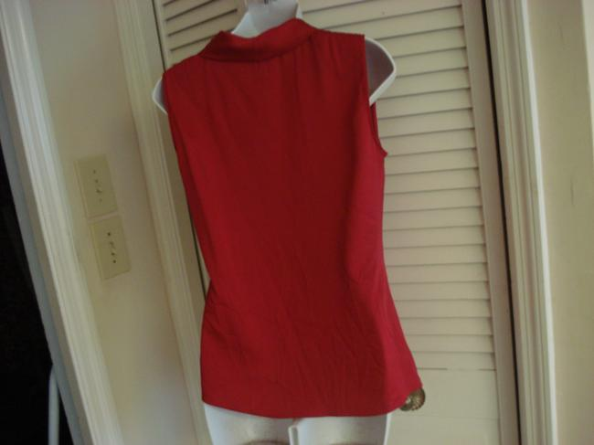 Elie Tahari Silk Christmas Sleeveless Top RED BURGUNDY