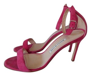 Manolo Blahnik Chaos Cuff Strappy Louboutin pink Sandals