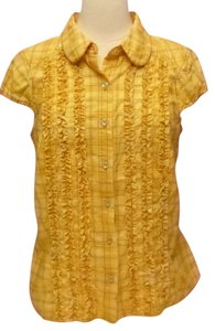 ivy jane Plaid Cotton Embroidered Butterfly Medium Button Down Shirt yellow