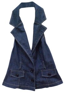 Color Me Cotton CLICK denim navy blue Halter Top