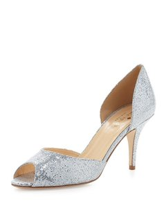 Kate Spade Silver Sage Glitter Peep-toe D'orsay Pump Formal Size US 8