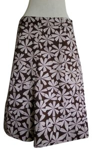 Willi Smith Skirt Brown with White Floral Print