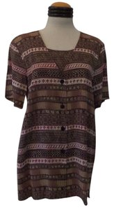 Sag Harbor Top Multi Color Geometric Print