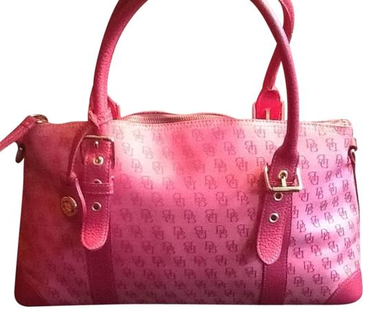 Preload https://item5.tradesy.com/images/dooney-and-bourke-signature-pink-with-pink-leather-trim-and-handles-satchel-4011964-0-0.jpg?width=440&height=440