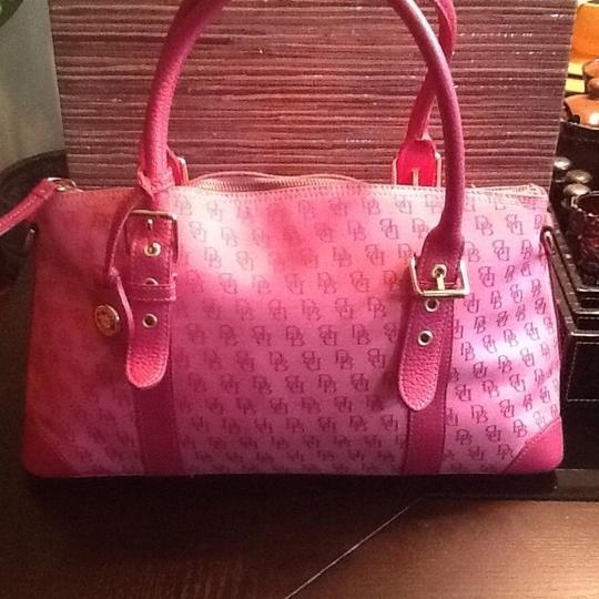 Dooney & Bourke Satchel in Pink with pink leather trim and handles
