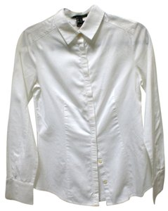 Mango Button Down Shirt white
