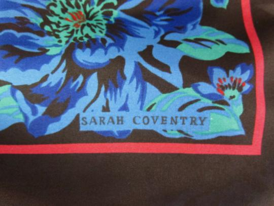 Sarah Coventry Floral Scarf Black Border Roses