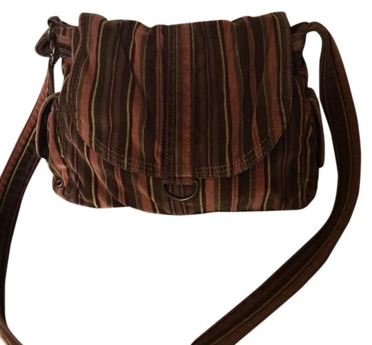 Fossil Handbag Vintage Corduroy Brown Striped Shoulder Bag