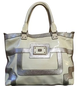 Anya Hindmarch Patent Leather Tote in Cream & Gold