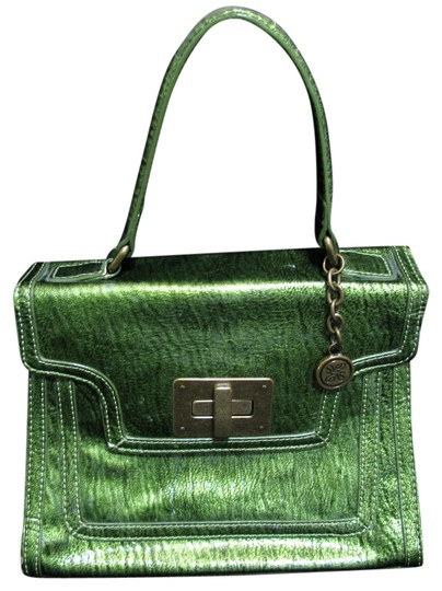 Vera Wang Simply Twist Lock Hand Purse Pockets Zippered Fauxleather Shimmering Metal Evening Designer Cute Satchel in green