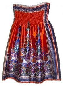 Forever 21 short dress Burnt Orange with Paisley Pattern in green, blue, Strapless on Tradesy