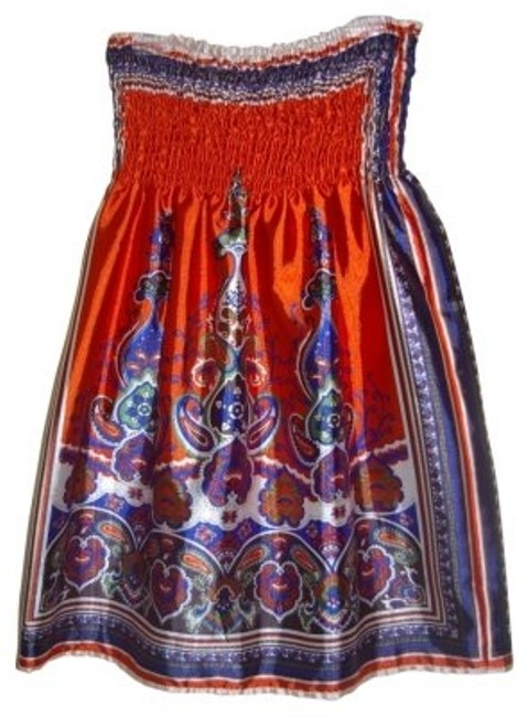 Preload https://item1.tradesy.com/images/forever-21-burnt-orange-with-paisley-pattern-in-green-blue-strapless-above-knee-short-casual-dress-s-40130-0-0.jpg?width=400&height=650