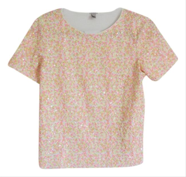 J.Crew Sequin Neon T Shirt Pink, Multi-color