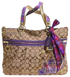 Coach Poppy Applique Glam Tote in Brown/Multicolor