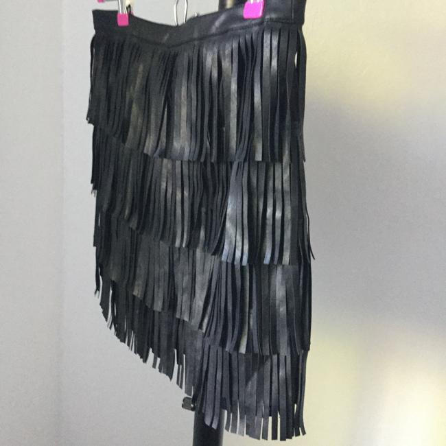 Varga Fringe Faux Leather Short Trendy Mini Above Knee Date Night Night Out Day Evening Party Travel Sexy Fringe Shaggy Skirt Black