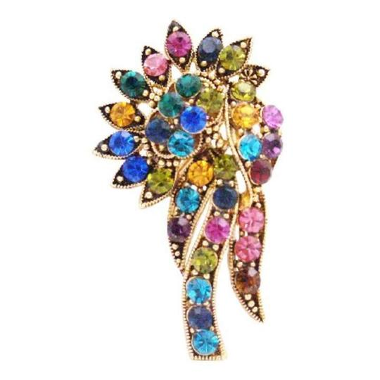 Multicolor Crystals Flower Antique Gold Vintage Bouquet Trendy Brooch/Pin