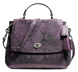 Coach Satchel in purple with silver hardware