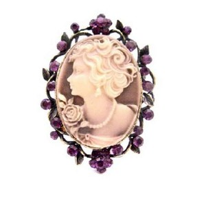 Purple/Amethyst Mothers Day Gift Cameo / Pendant Timeless Crystals Brooch/Pin