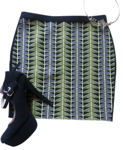 Rachel Roy Jacquard Print Bodycon Mini Skirt Black, Lime green w/ Lavender