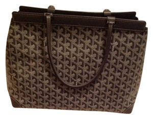 Goyard Monogram Canvas Geniune Leather Trim Satin Lining Double Leather Handles Tote in Gray