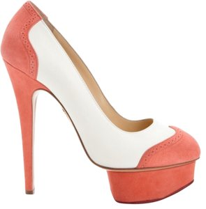 Charlotte Olympia Coral and White Pumps