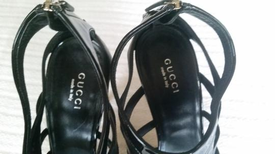 Gucci Heels Leather Patent Leather Black Sandals