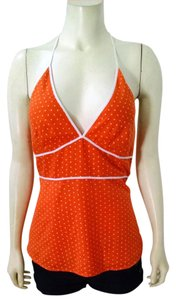 J.Crew Size 6 Polka Dots Lined P1450 Orange, white Halter Top