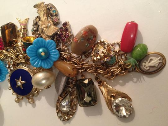 Other Vtg. HandMade Multi 40-charms Gold Chain bracelet