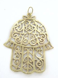 14KT Yellow Gold Pendant HAMSA HAND OF GOD OR FATIMA HAND