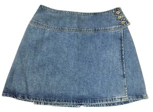 Guess Wrap Denim Mini Skirt Blue