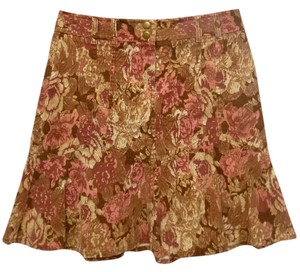 Ann Taylor LOFT Fall Corduroy 8 Mini Skirt brown/multi