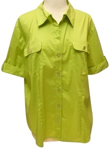 Chico's Cotton Blend Button Down Shirt green