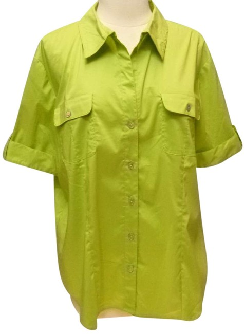 Chico's Cotton Blend Button Front Short Sleeve Button Down Shirt green