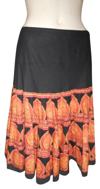 Item - Black Pink & Orange Cotton Skirt Size Petite 6 (S)