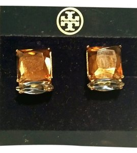 Tory Burch TORY BURCH SERENA CLIP EARRINGS BROWN AMBER and BLUE COLOR NEW ON TAG
