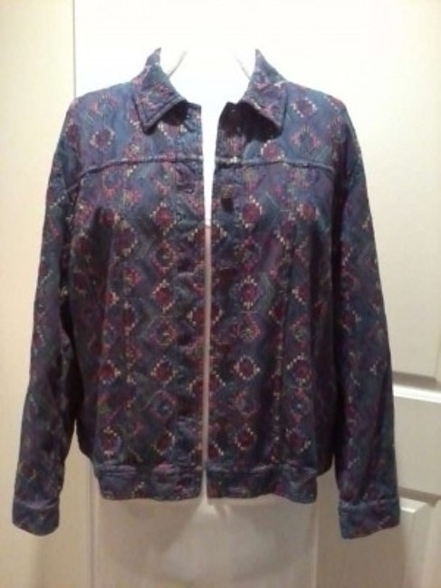 Coldwater Creek Blue Denim with Multi-Color Jacket