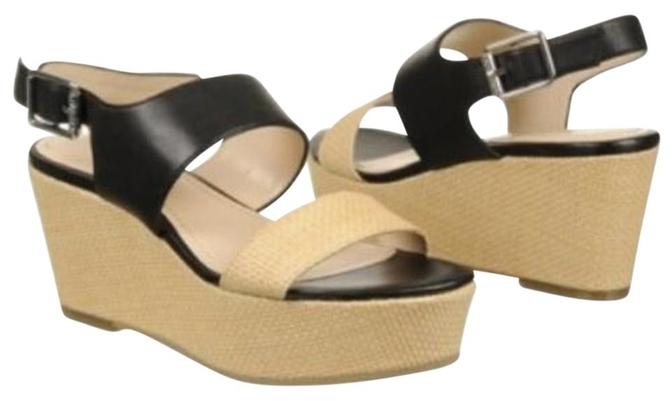d266b79dd1 Calvin Klein Black and Natural Lorianne Two-tone Leather/Textile Open Toe Sandals  Wedges