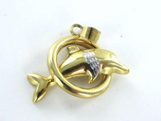 Other 14KT Yellow Gold Pendant DOLPHIN JUMPING IN HOOP