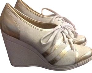 Michael Kors White and Gold Wedges