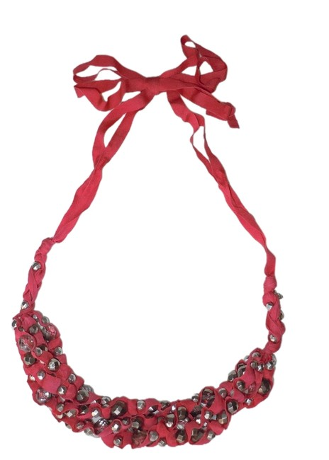 Item - Red Ribbon Bead Necklace