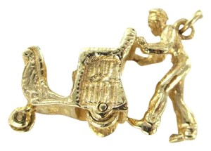 14KT KARAT Yellow Gold Pendant Rickshaw men pulling car