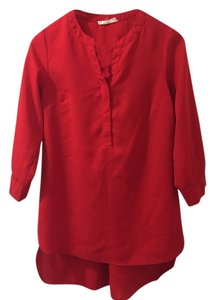 Sugarlips Tunic Buttondown Hilow Top Red