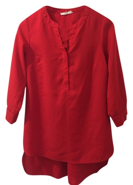 Sugarlips Tunic Buttondown Hilow Highlow High Low Iipstick Small Goingout Party Professional Work Wear Clothing Top Red