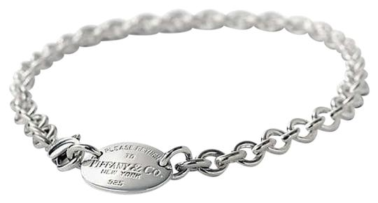 Tiffany & Co. Please Return to Tiffany &Co. Sterling Silver Oval Tag Choker Necklace