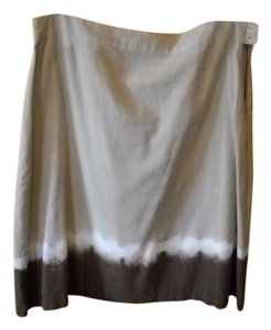 Old Navy Midi Skirt Tan, brown and white