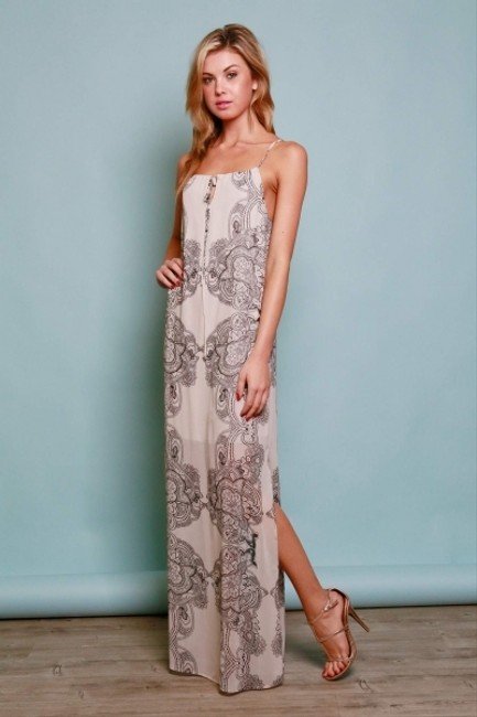 Black & Cream Maxi Dress by Timing Paisley Spaghetti Strap Sheer Maxi